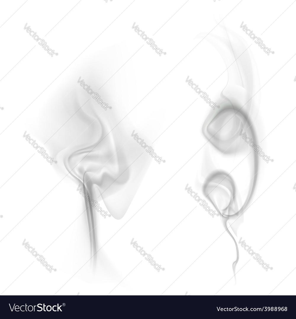 Black smoke isolated on white background vector image
