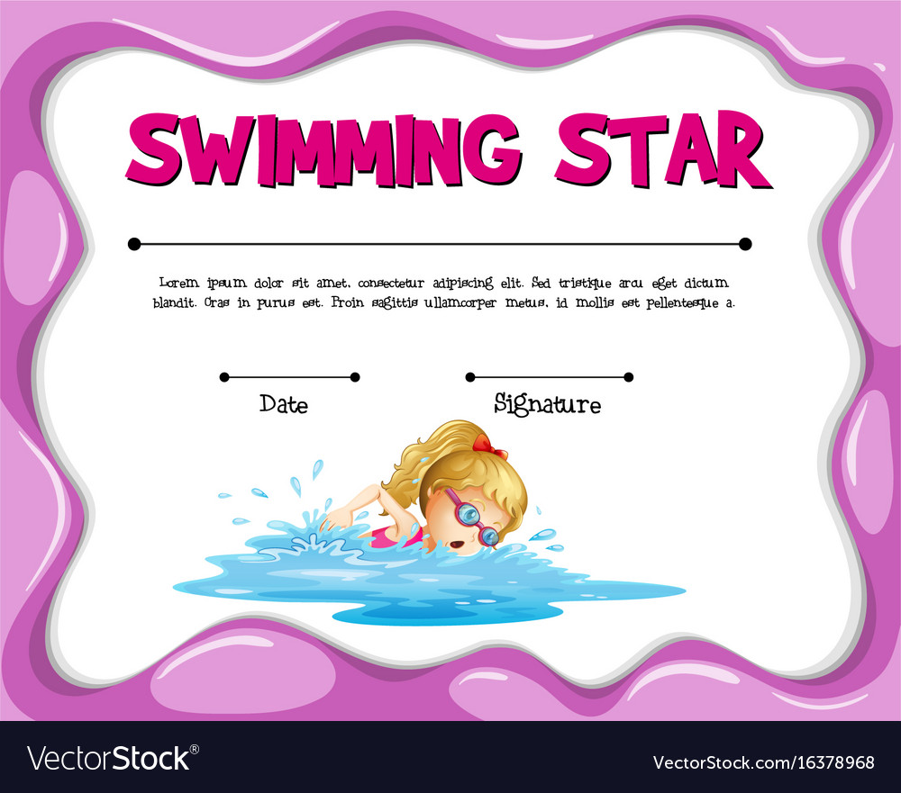 Swimming star certificate template with girl vector image swimming star certificate template with girl vector image xflitez Choice Image