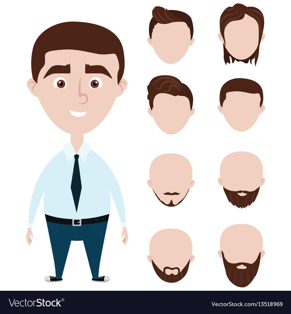 Cartoon funny man with haircuts set vector image