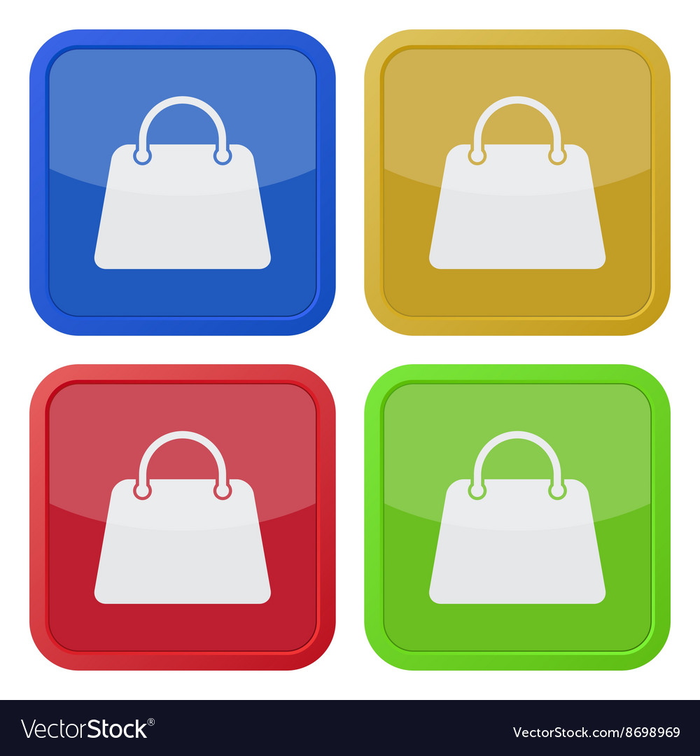 Set of four square icons with handbag vector image