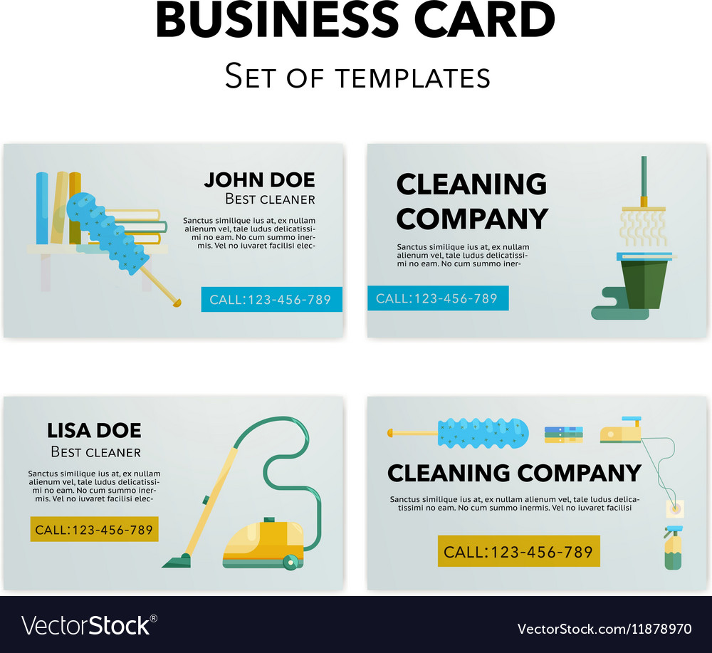 Cleaning company business cards set Royalty Free Vector