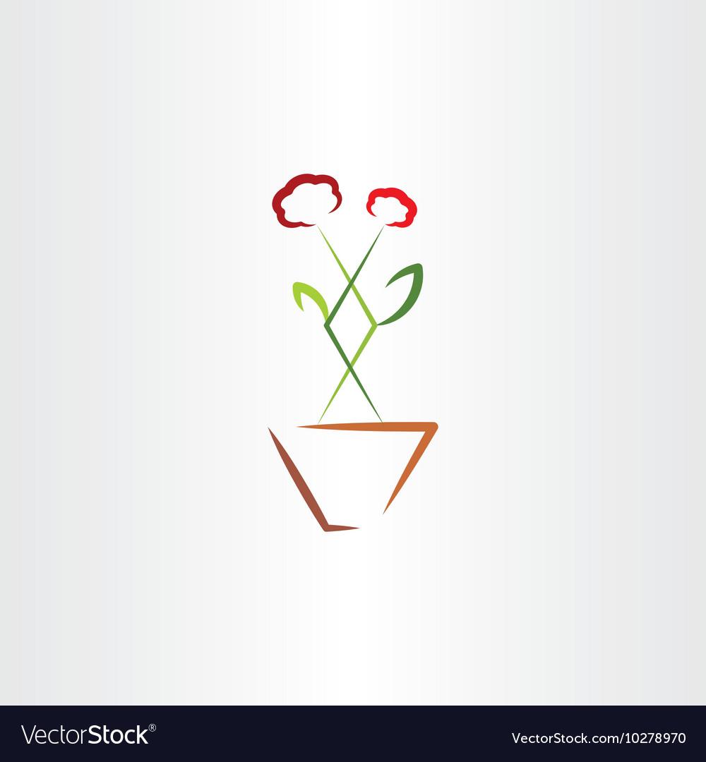 Flower in pot clip art icon vector image