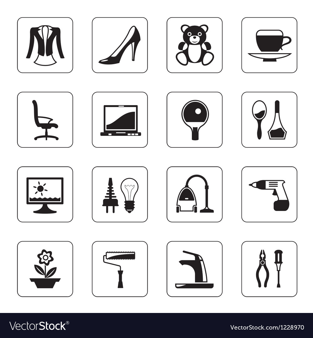 Hypermarket and mall icons set vector image