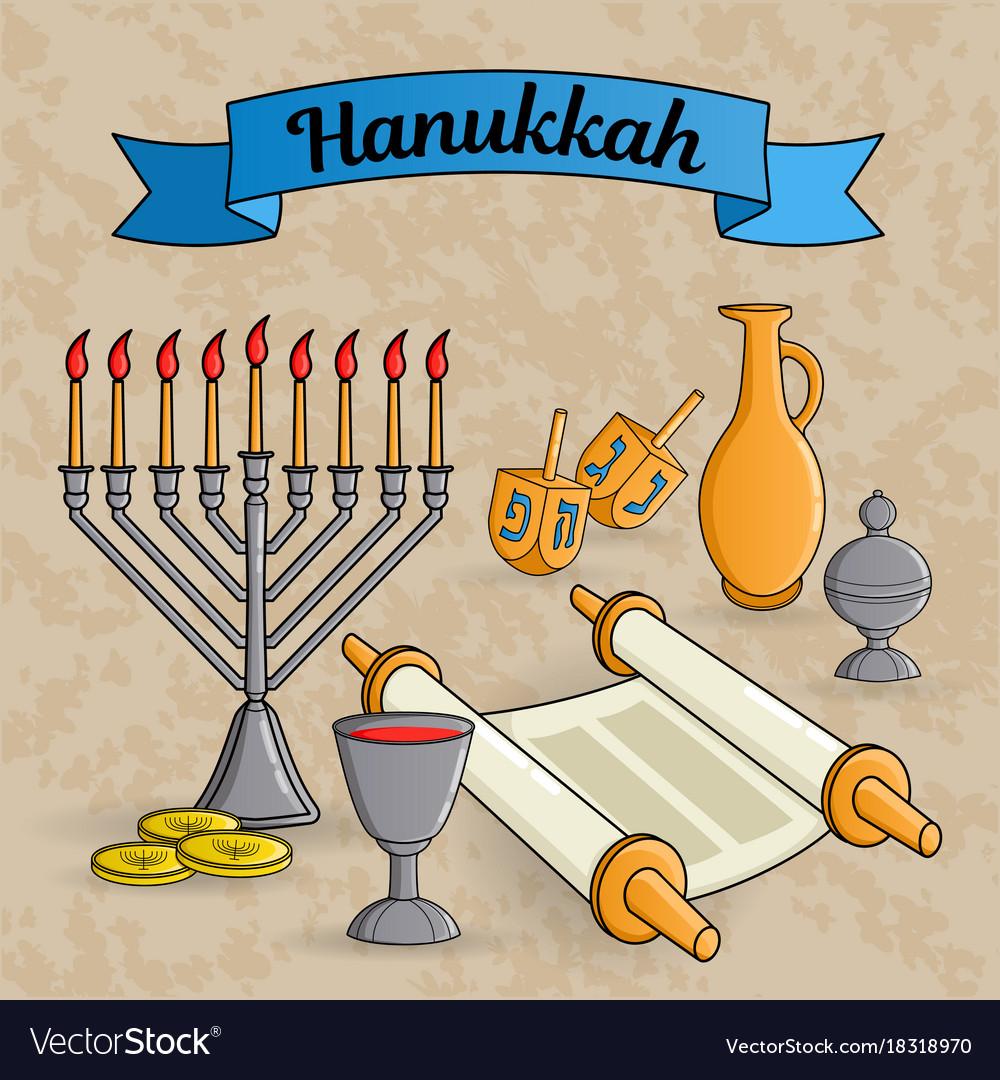 Jewish holiday hanukkah greeting card traditional vector image m4hsunfo
