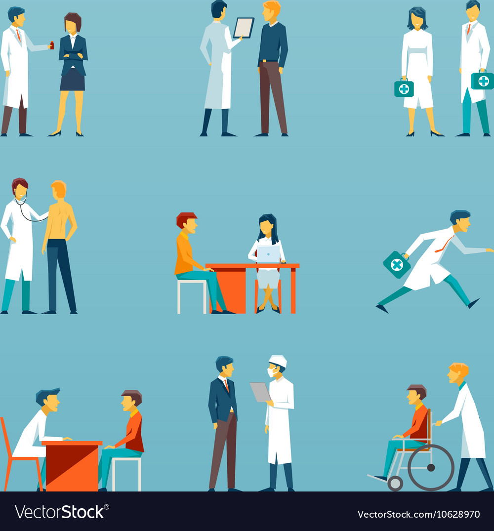 Medical staff flat icons Health care set vector image