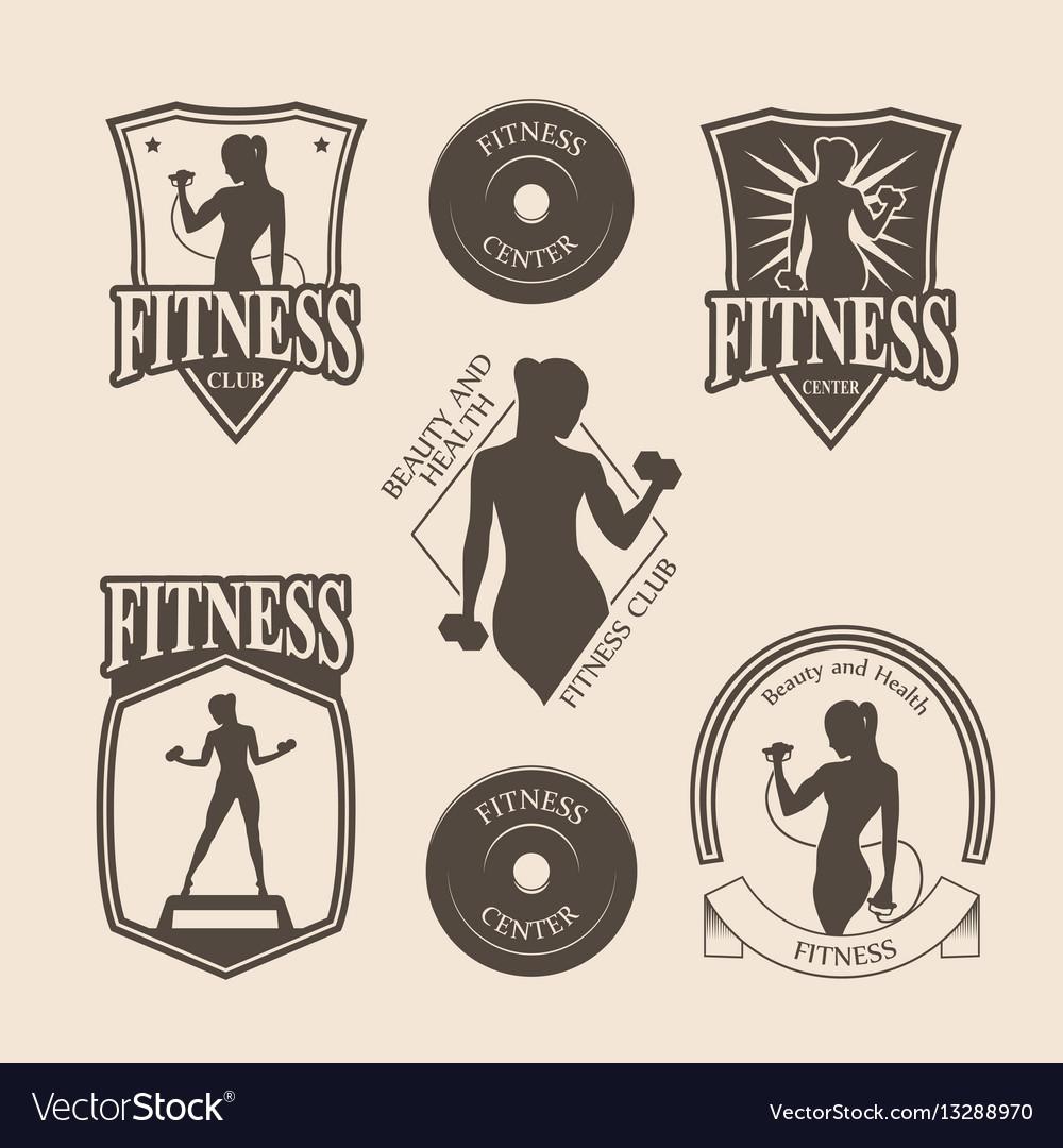 Set of vintage fitness emblem logo icons vector image
