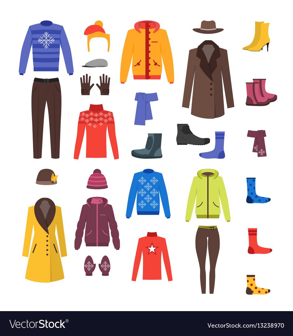 Winter clothing woman and man set vector image