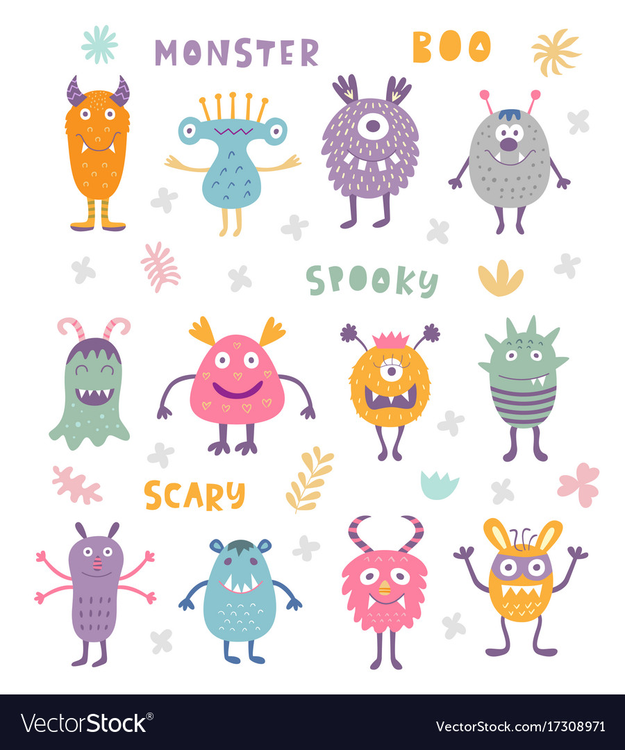 Set of cute scary halloween monsters Royalty Free Vector