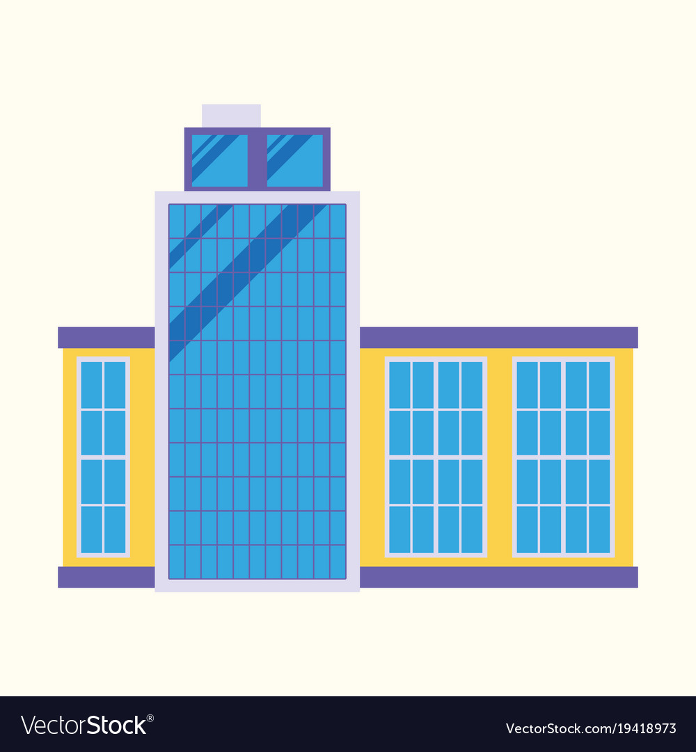 Commercial building architecture in flat design