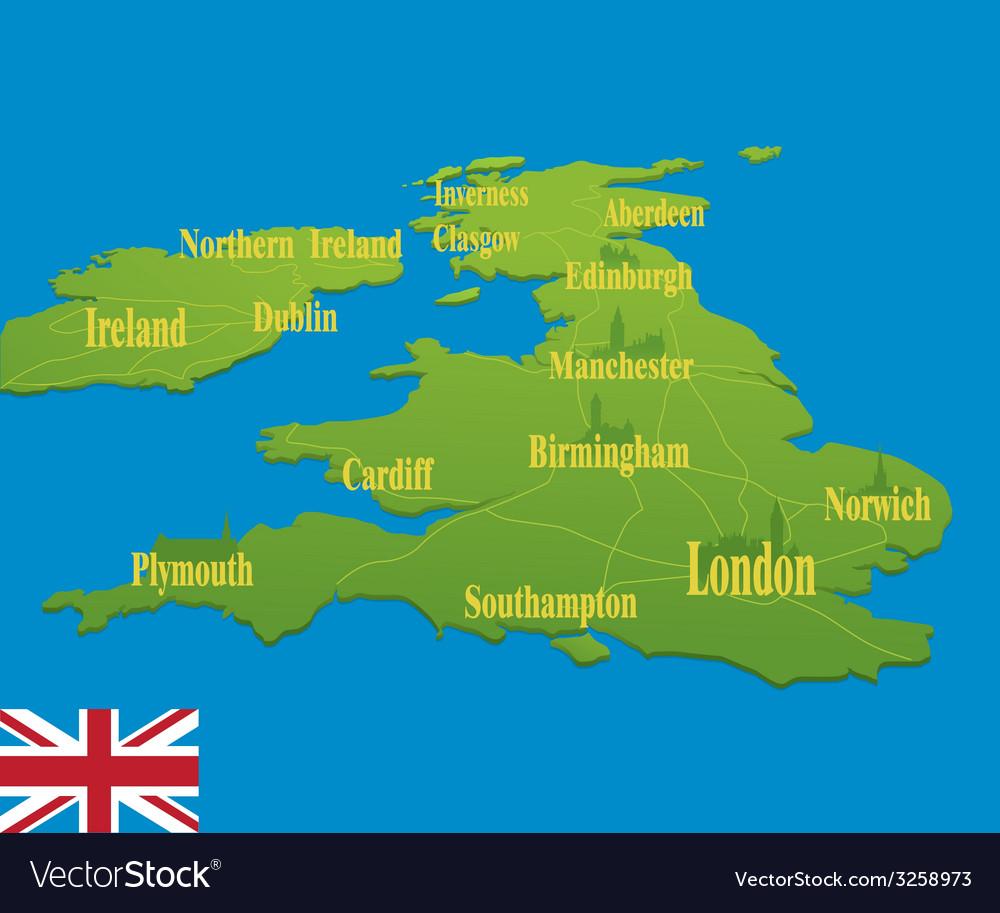 Original England map with a national flag vector image