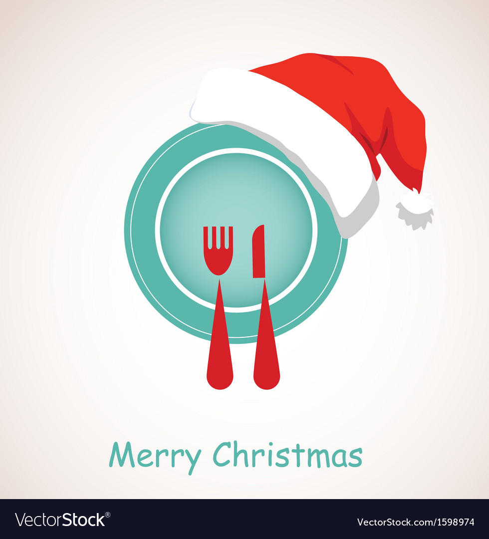 sc 1 st  VectorStock & Christmas dinner plate wearing christmas red hat Vector Image