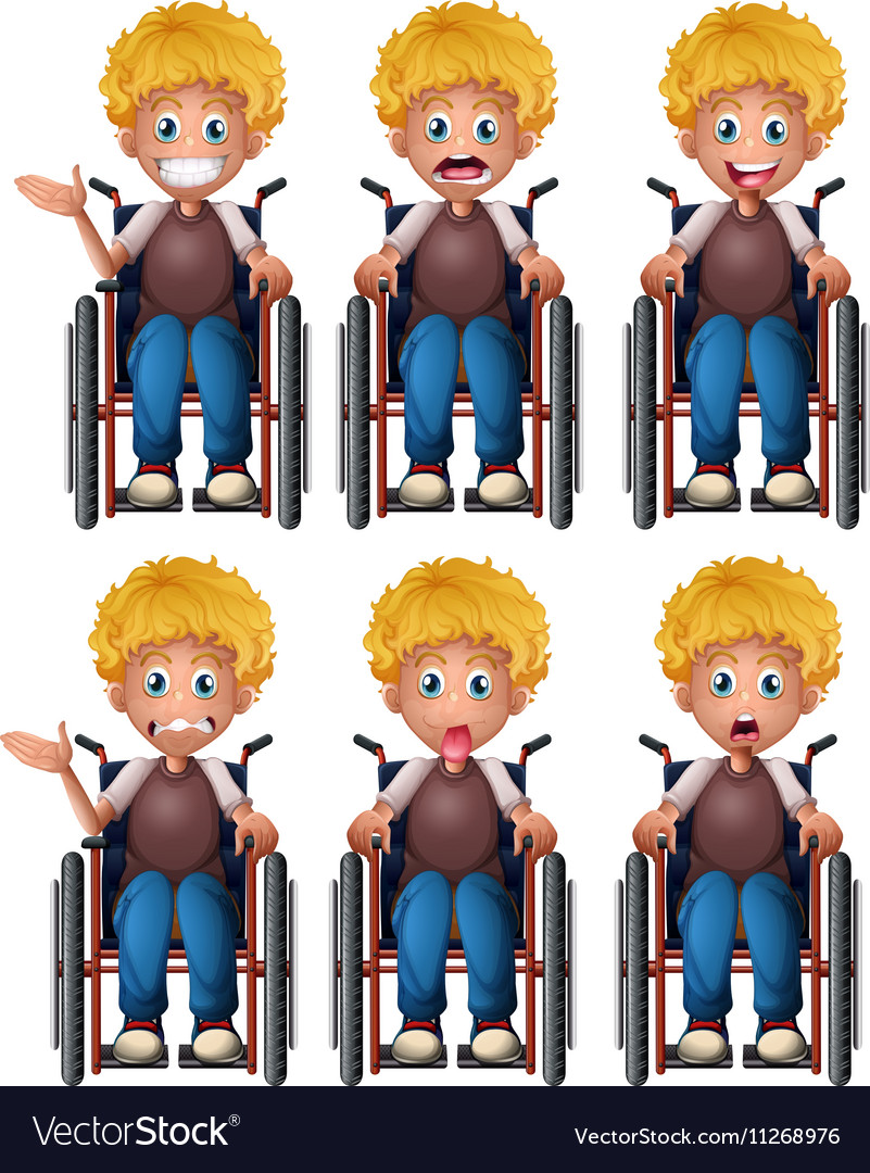 Boy on wheelchair with different emotions vector image