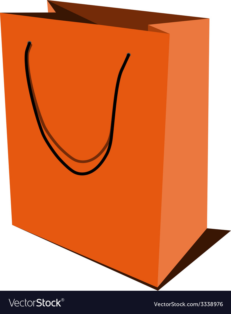 Orange paper bag vector image