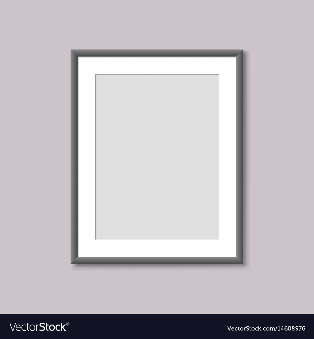 Realistic empty white picture frame vector image