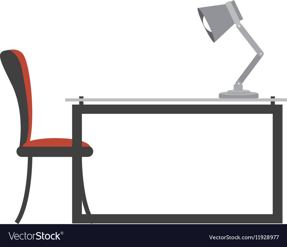 Colorful Side View Desk With Chair And Lamp Vector Image