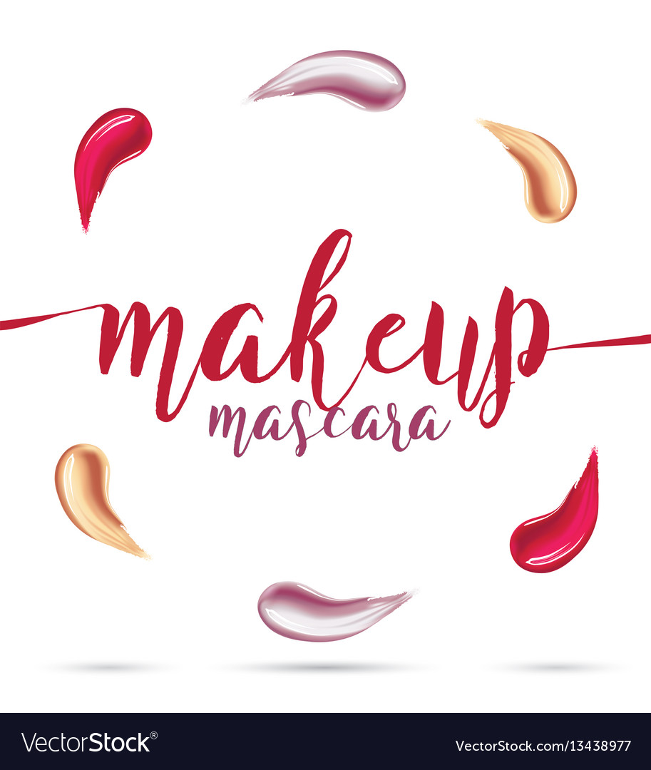 Different lipstick smears on white background vector image