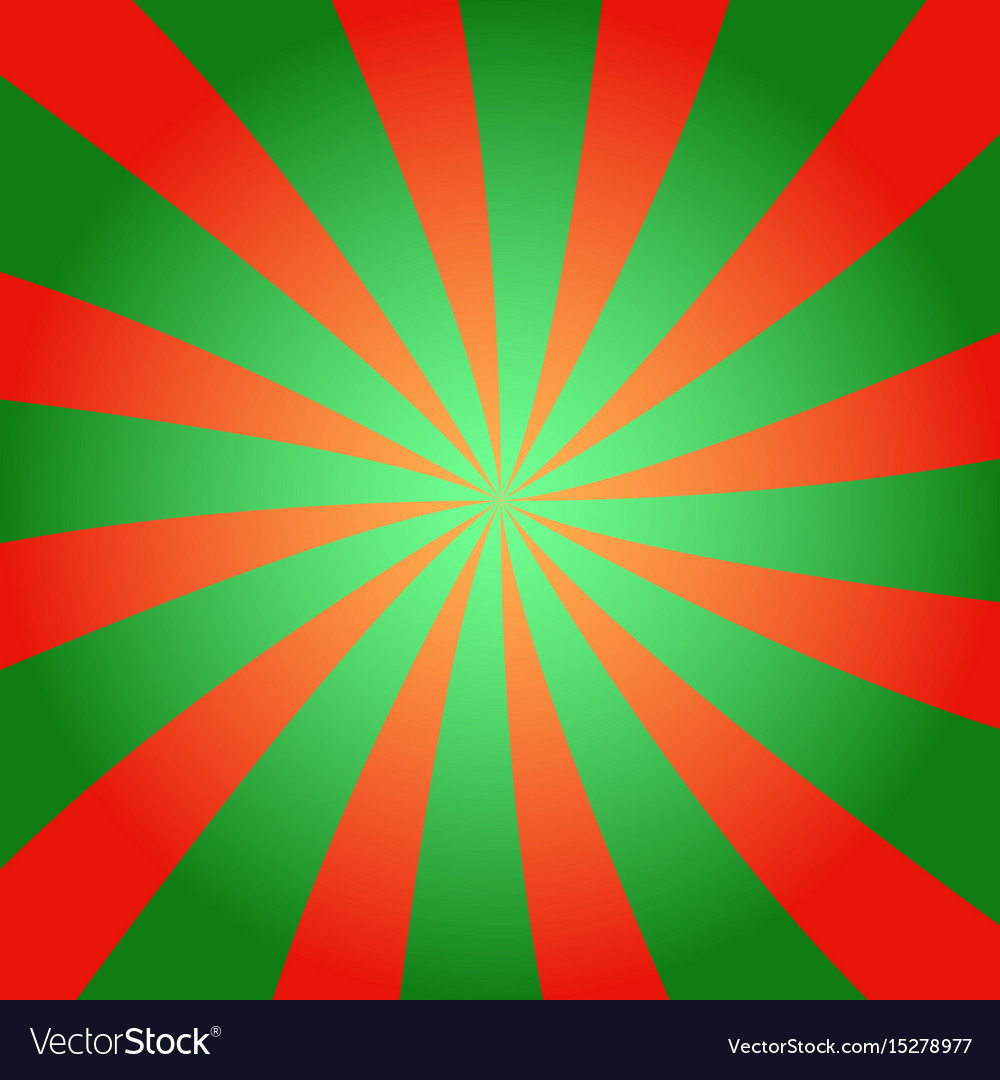 Red and green sunburst background vector image