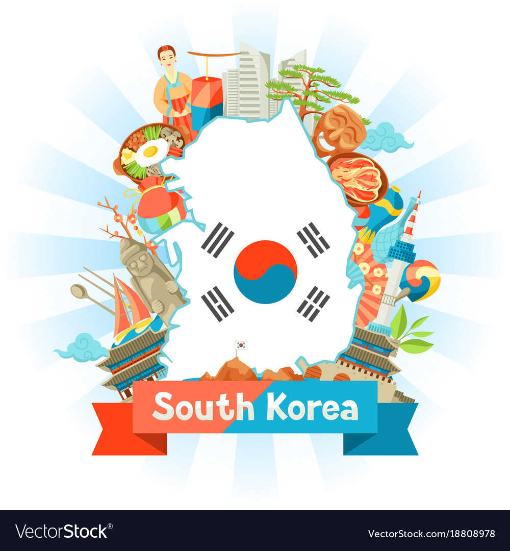 South korea map design korean traditional symbols vector image biocorpaavc Image collections