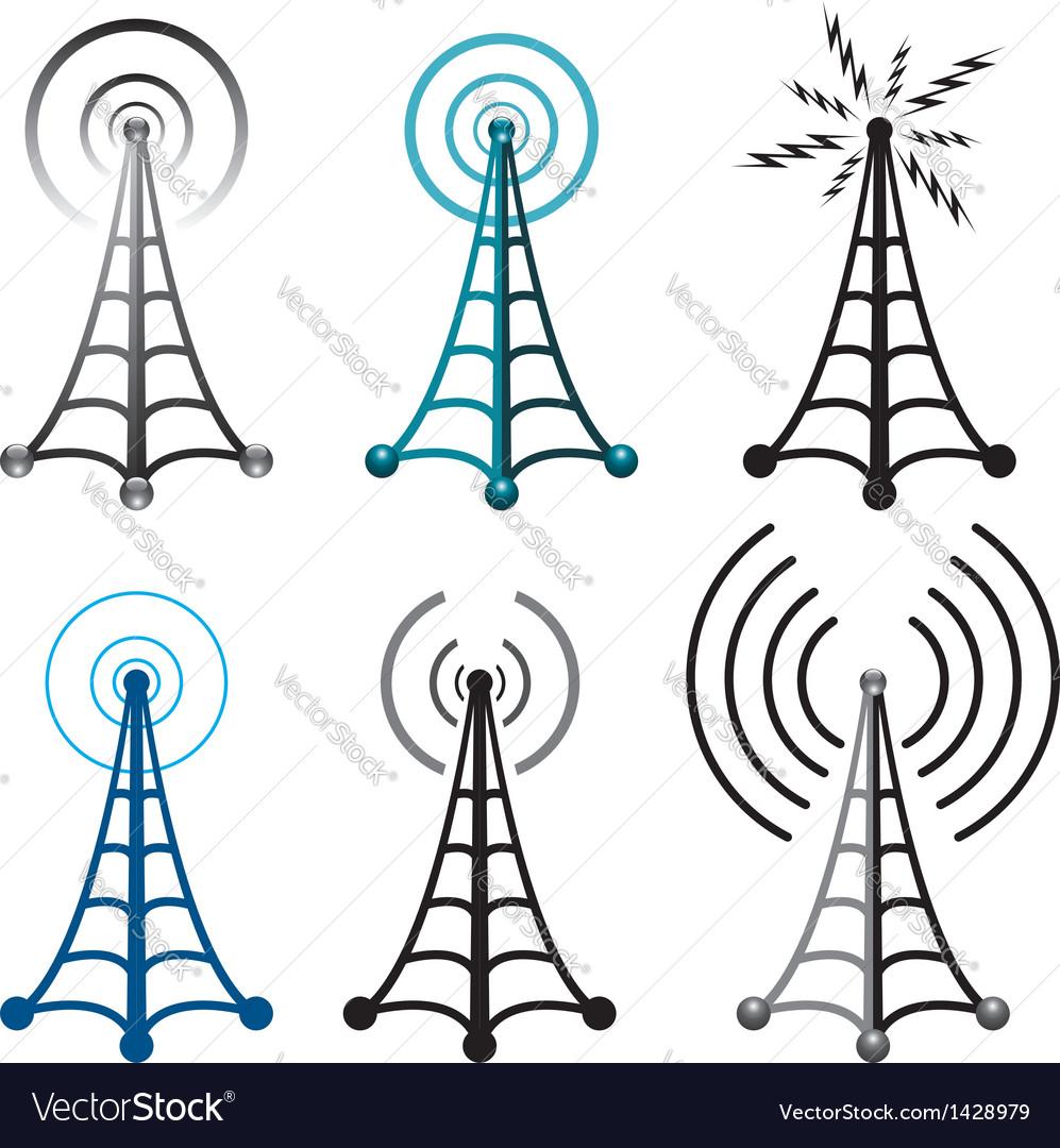 Radio tower symbols vector image