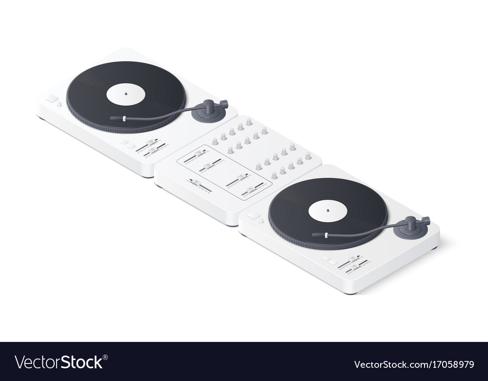 Dj mixer panel and turntables isolated on white vector image