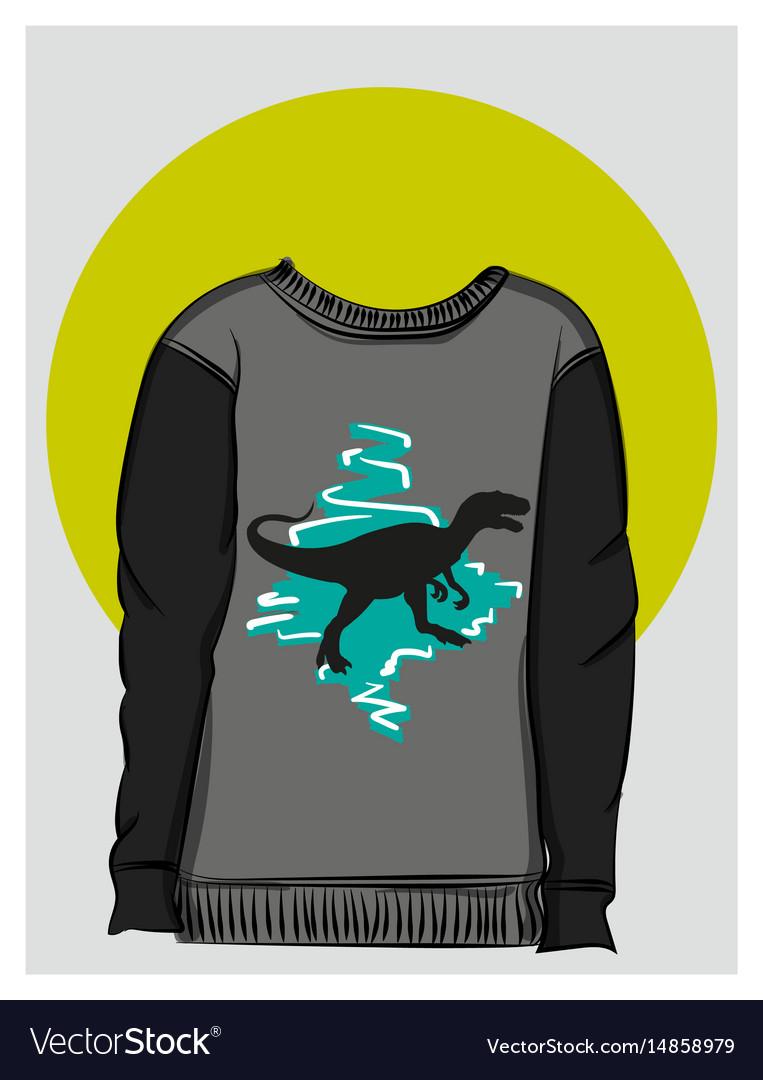 Gray sweatshirt with dinosaur print eps 8 vector image