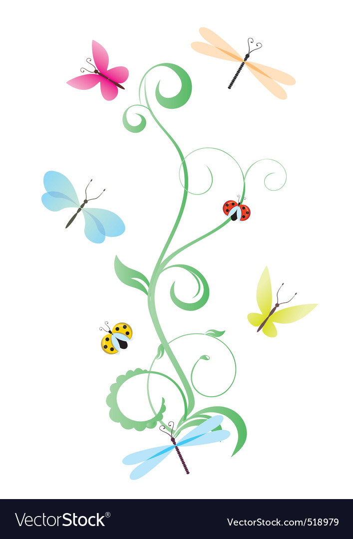 Green curves with butterflies vector image
