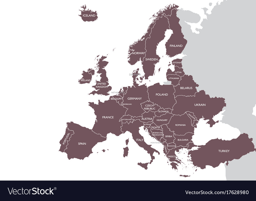 Europe detailed map with name vector image