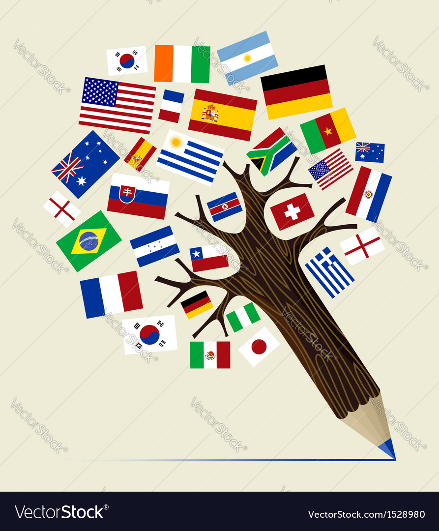 Flag Variety concept pencil tree vector image