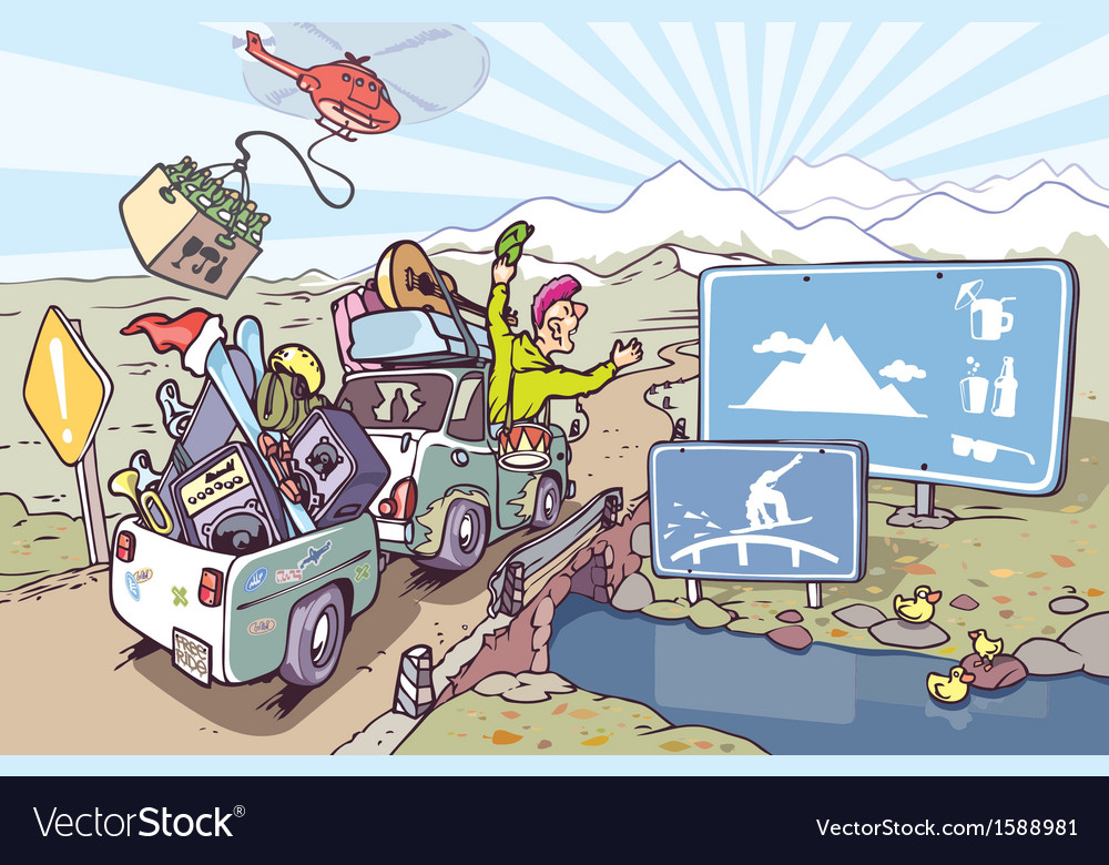 Road Trip to Mountains vector image