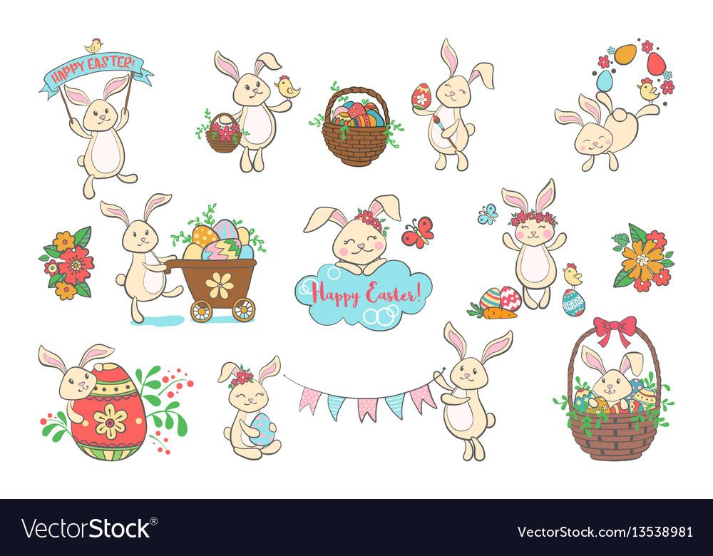 Set of cute easter bunnies vector image