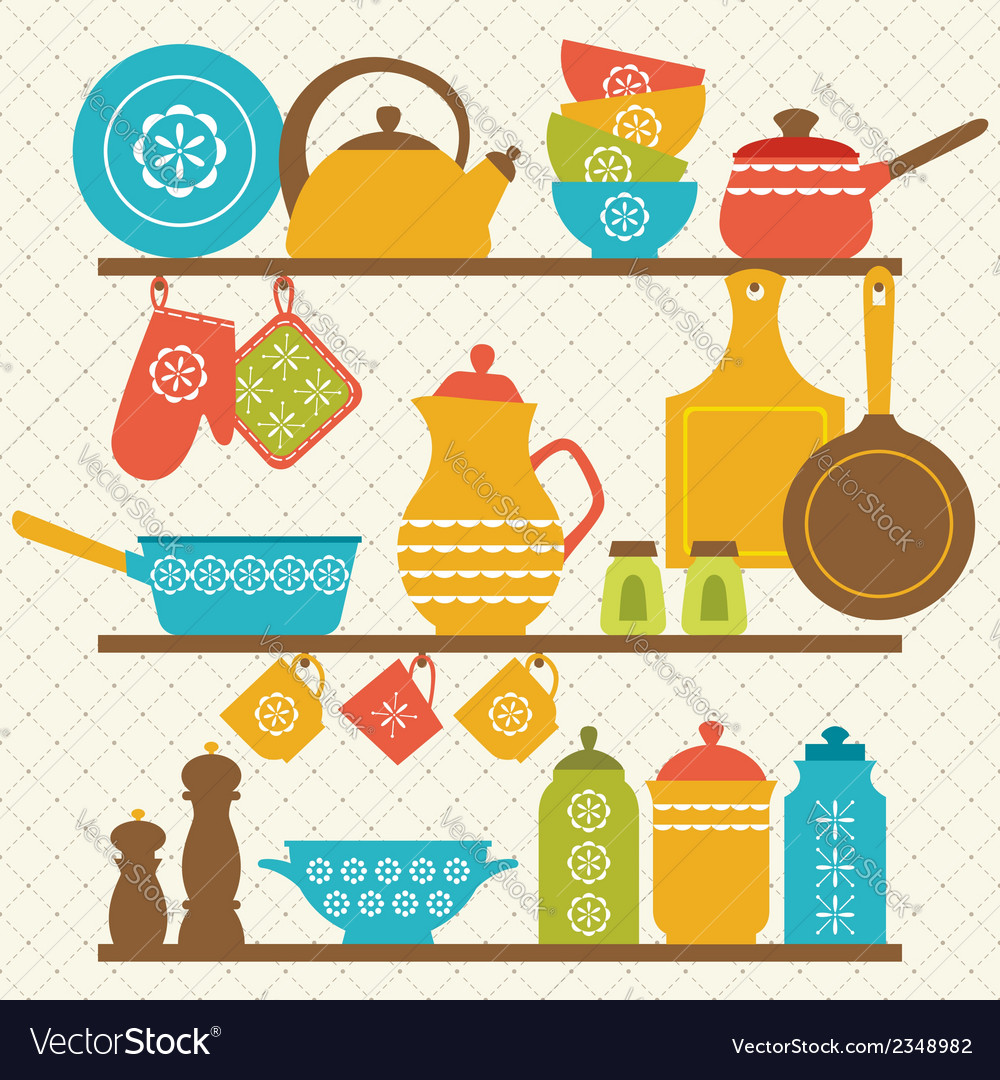 Kitchen shelves vector image
