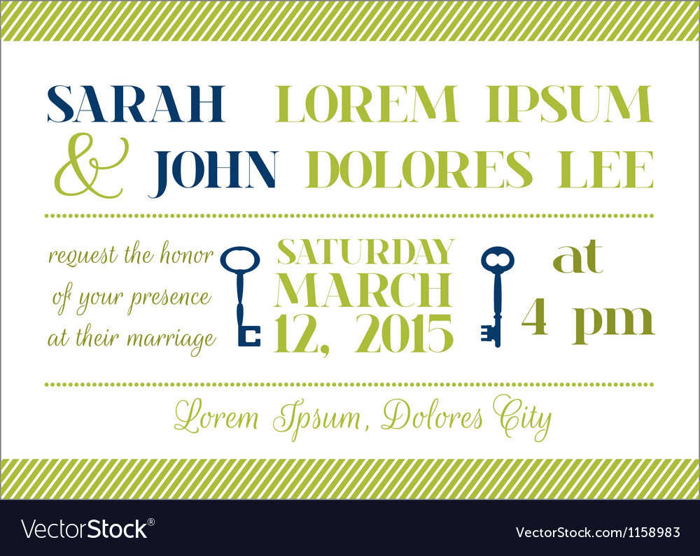Wedding Invitation Card - Key Theme vector image