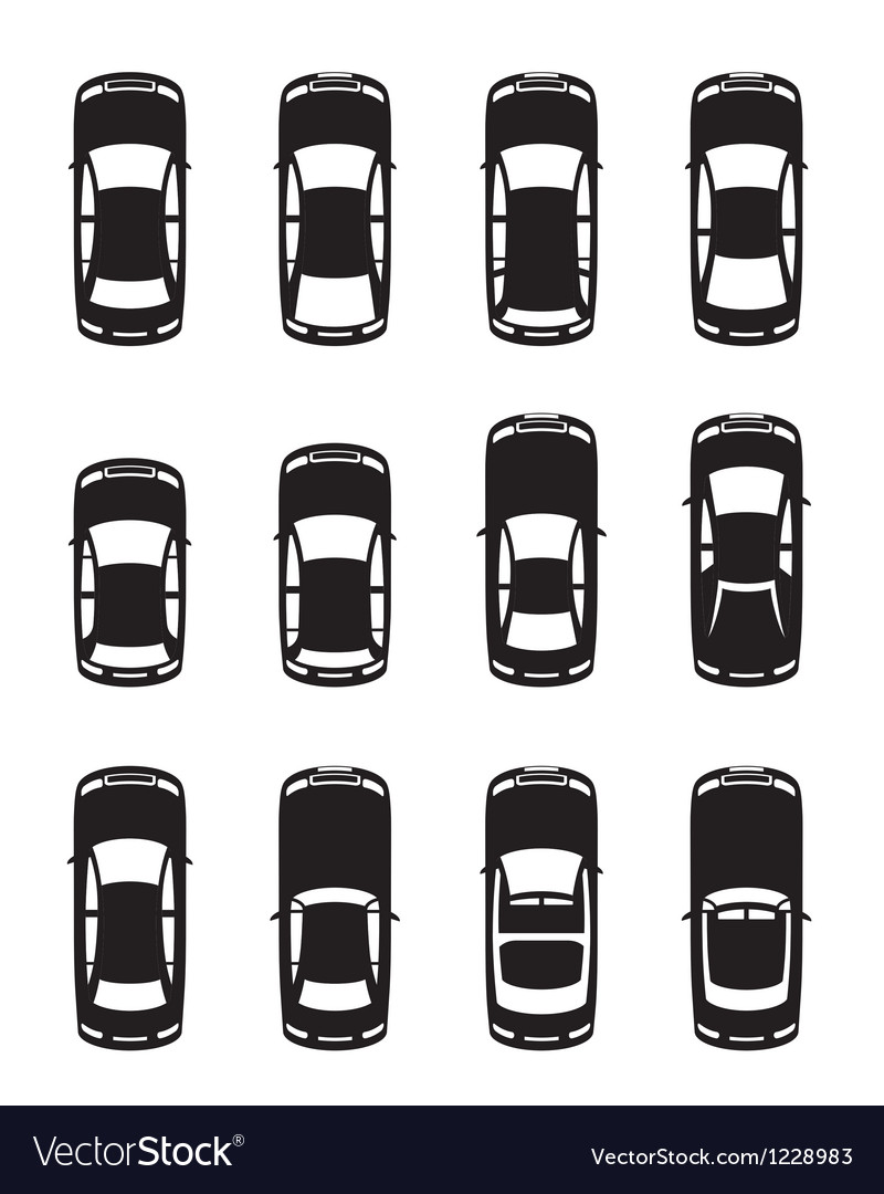 Different cars seen from above vector image