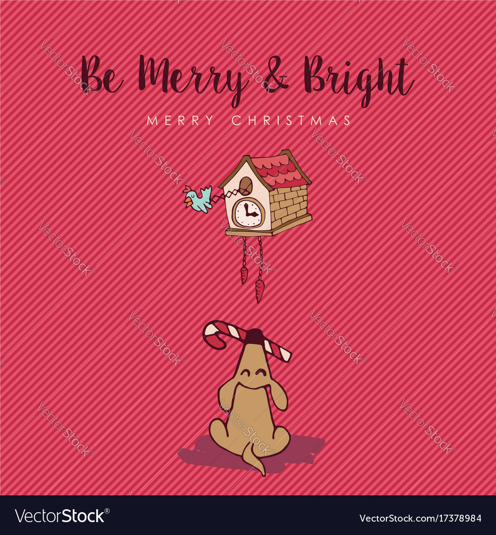 Merry christmas funny dog cartoon greeting card vector image kristyandbryce Image collections