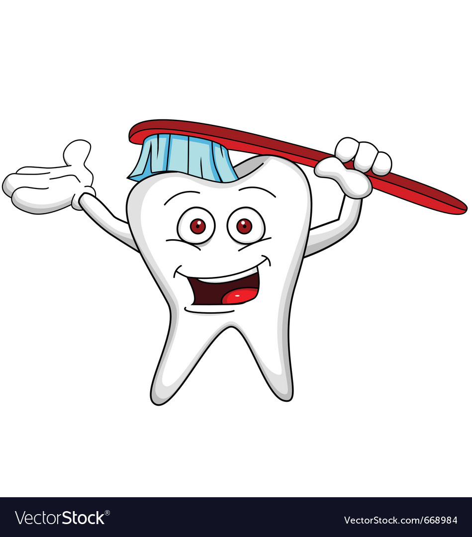 Tooth cartoon character with brush vector image