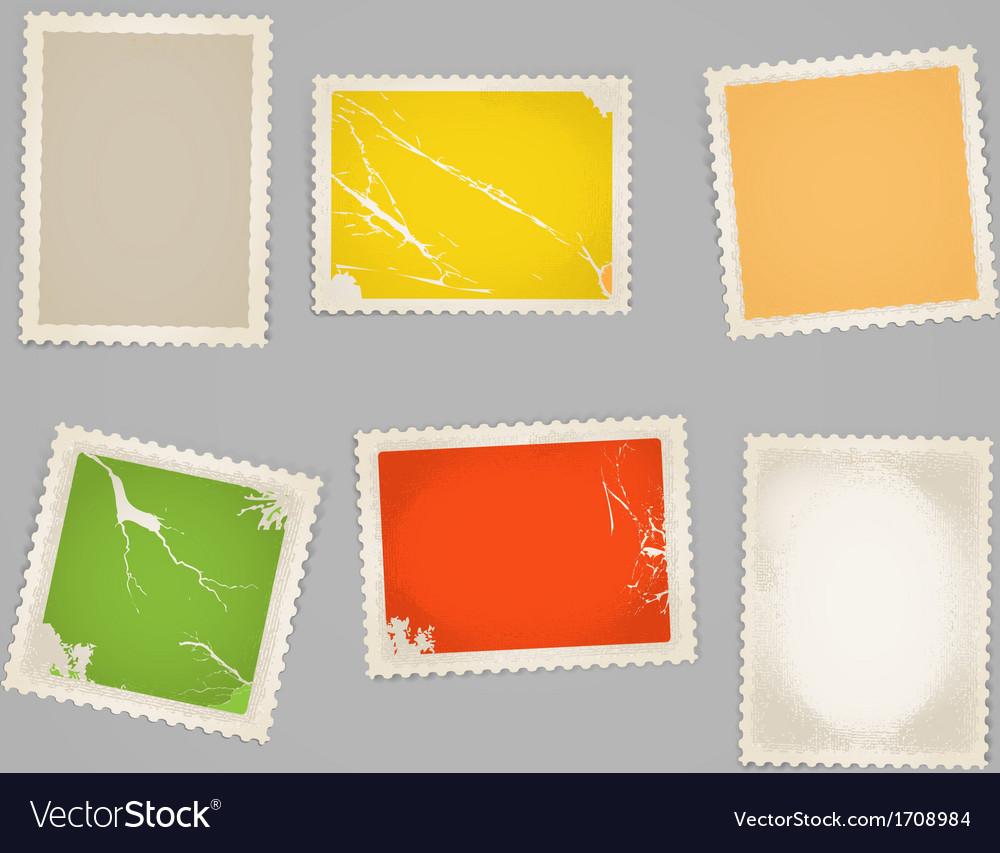 Vintage color post stamps template clip-art vector image