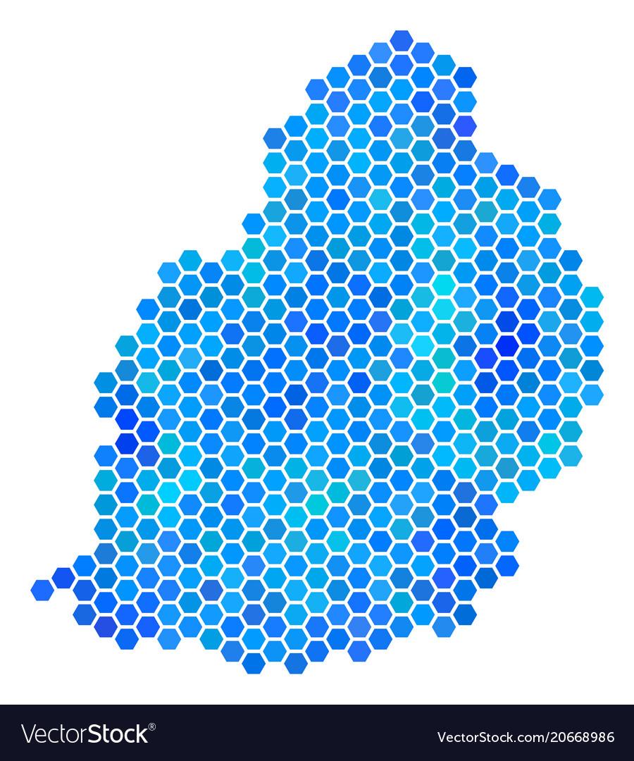 Blue hexagon mauritius island map Royalty Free Vector Image