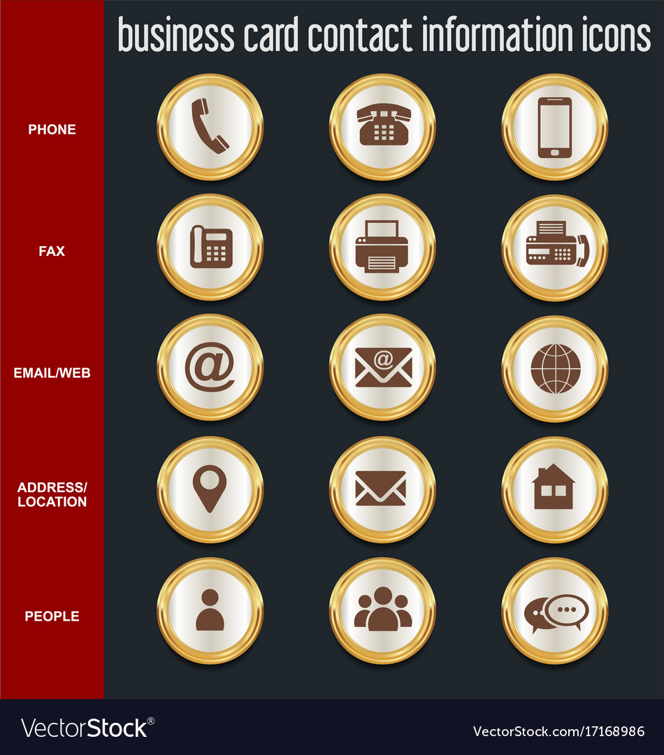 Business card contact information icons Royalty Free Vector