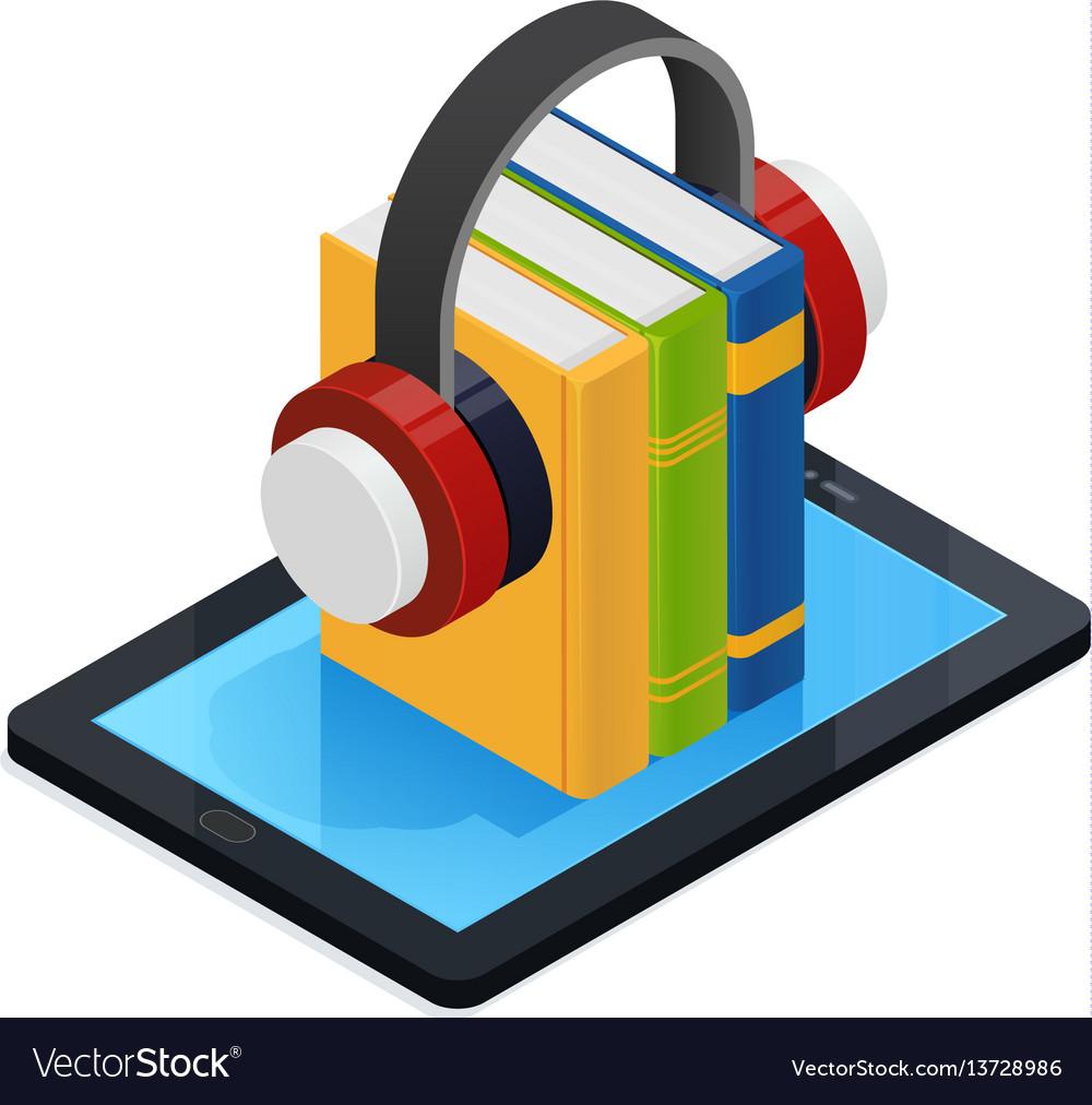 Online audio books isometric design vector image