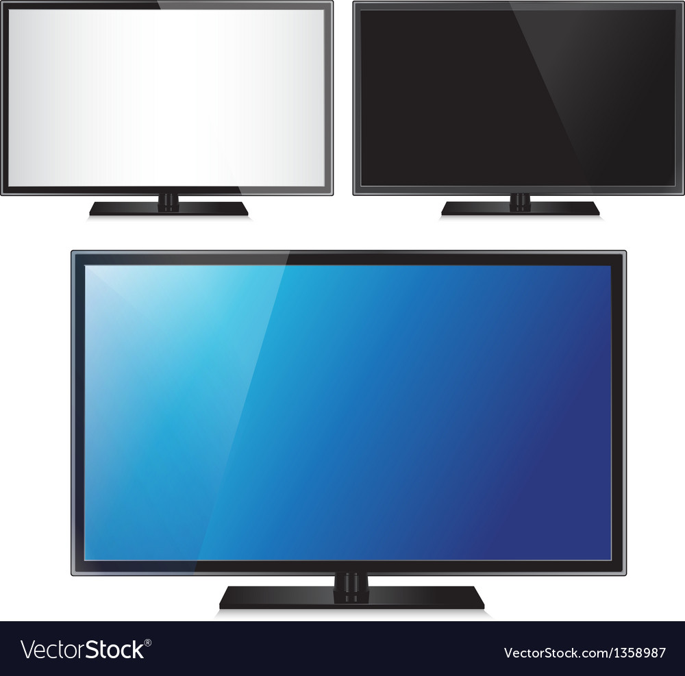 Set of three TV flat screen lcd plasma realistic vector image