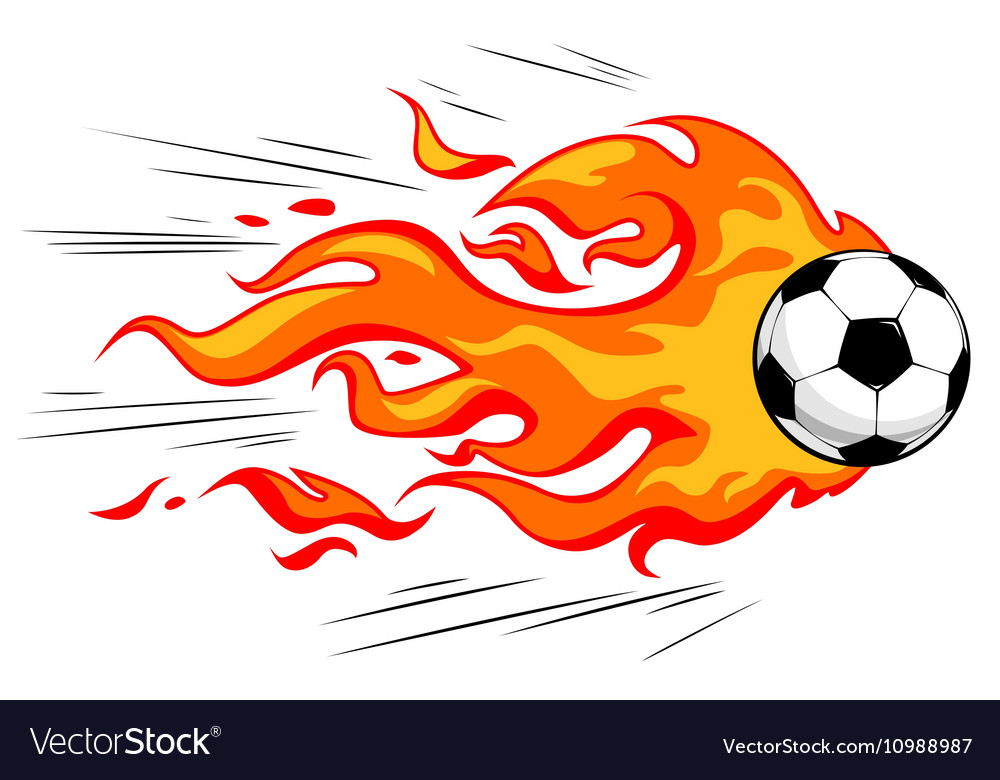 Flamy soccer ball vector image