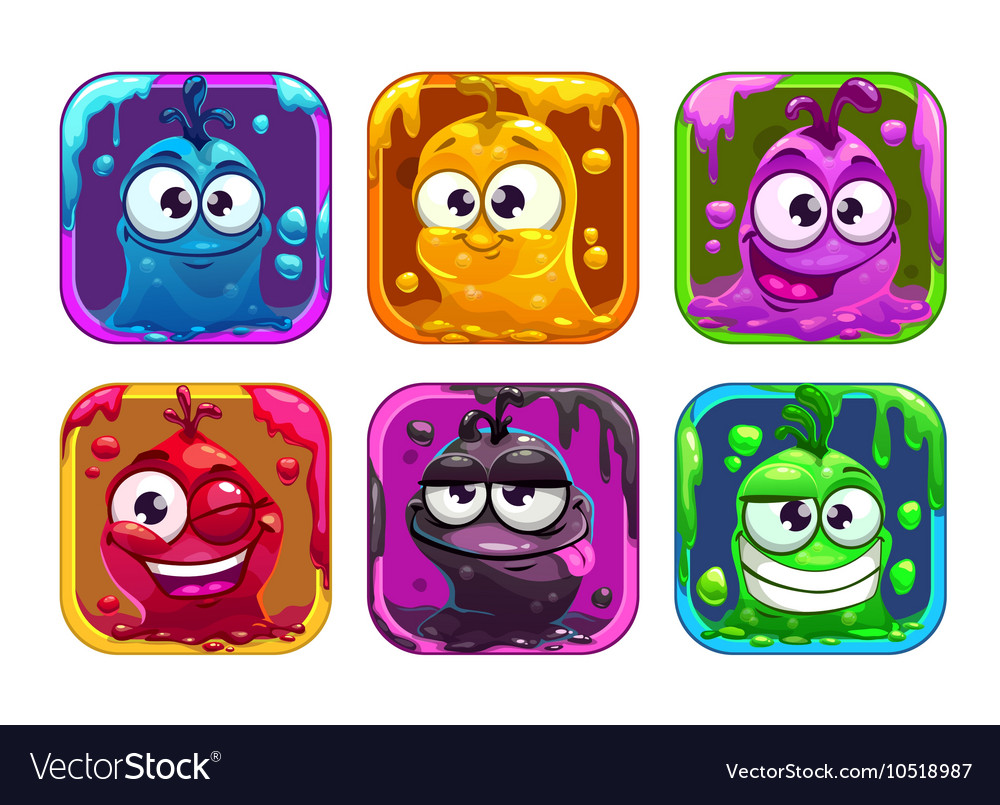 Funny cartoon liquid characters in the frame vector image
