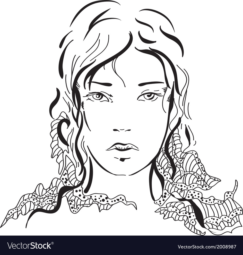 Graphic silhouette beautiful girl vector image