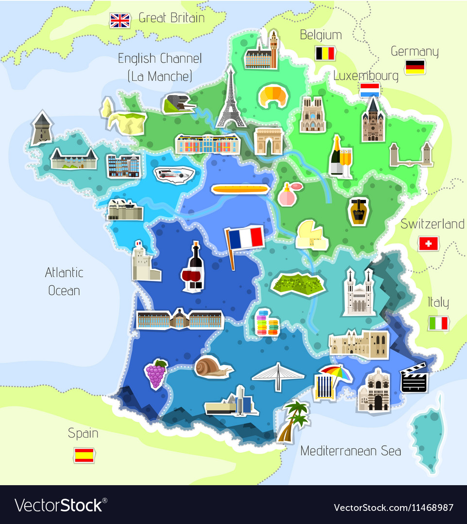 Worksheet. Map of France with landmarks Royalty Free Vector Image