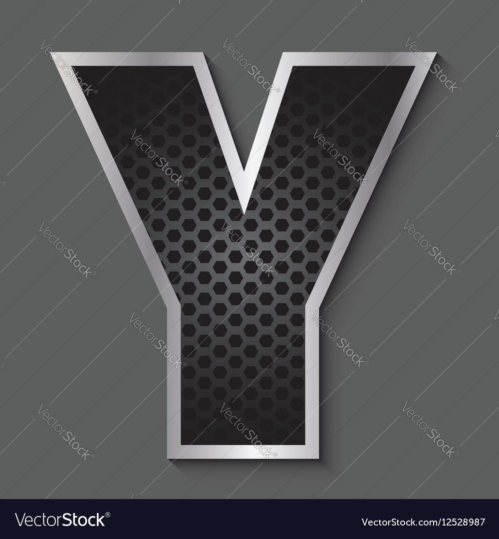 Metal grid font - letter Y vector image