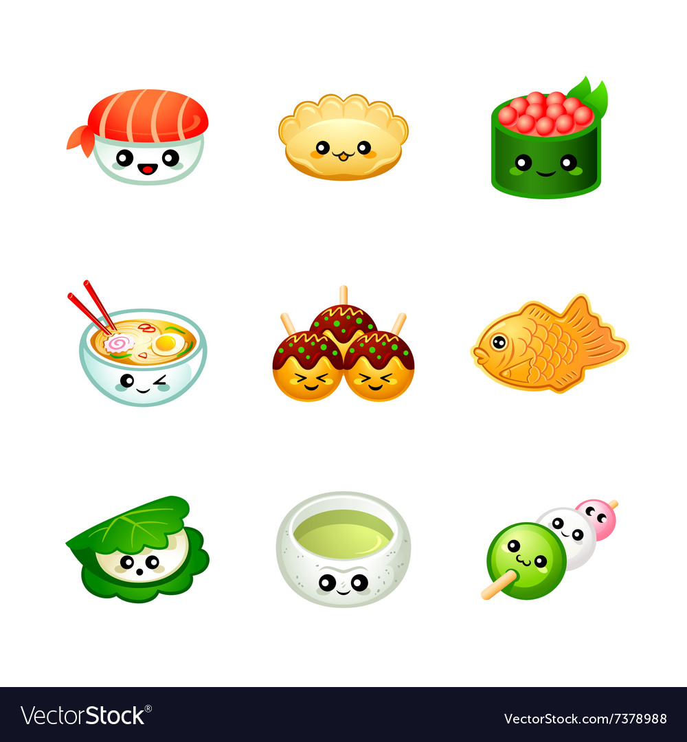 Cute Japanese food vector image