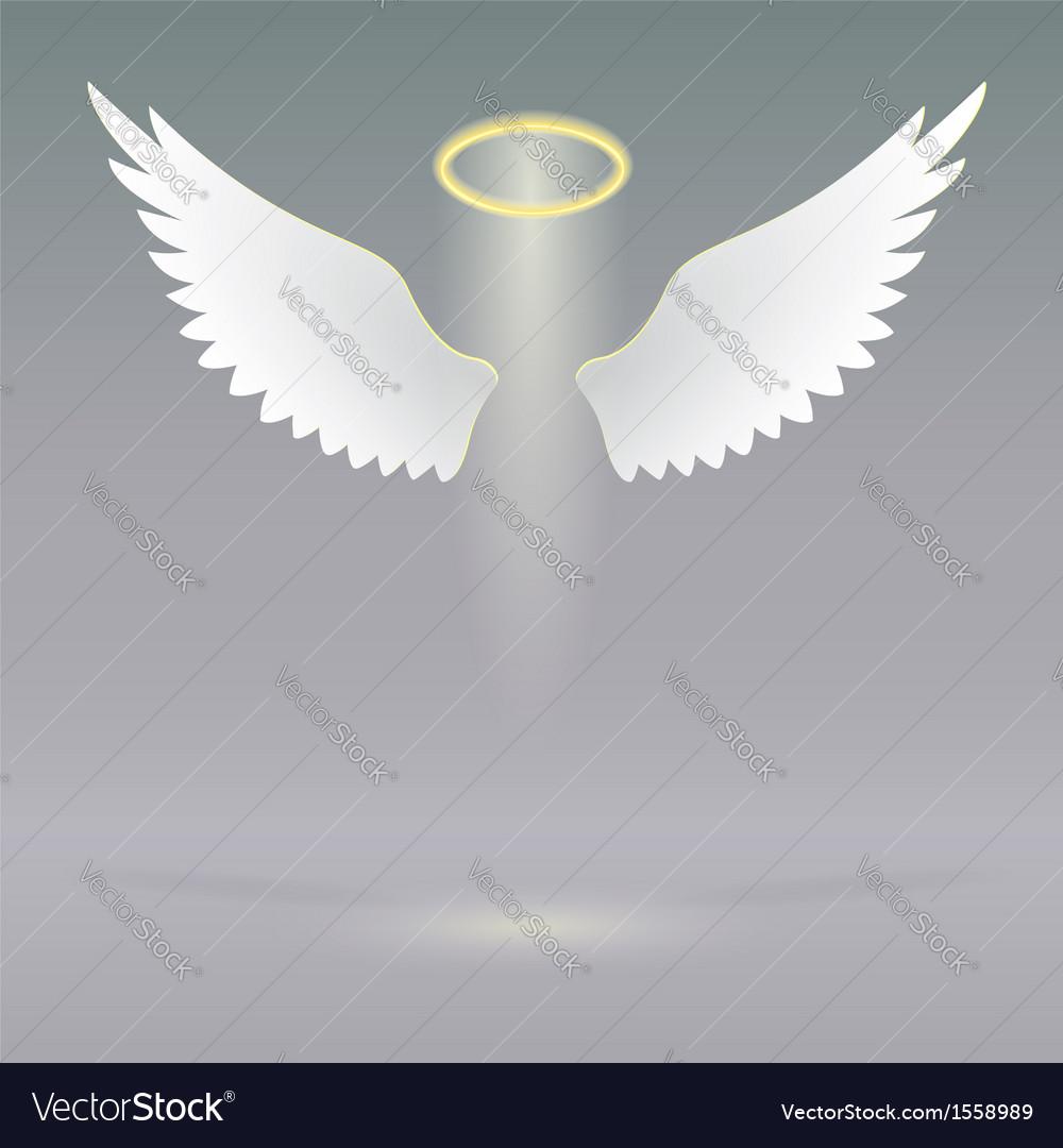 Angel wings on heavenly vector image