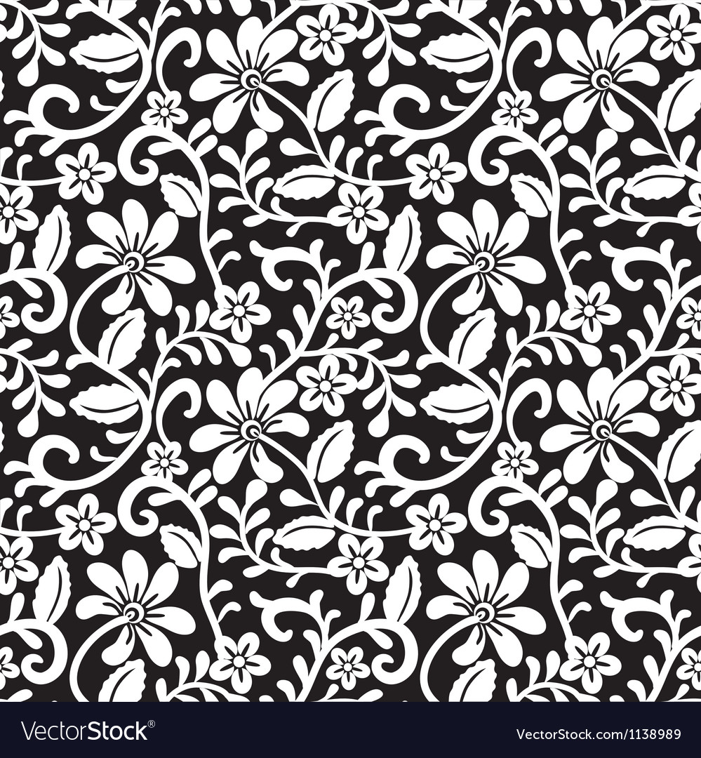Black Flower And Bud Pattern Royalty Free Stock Photos: Lace Floral Pattern Royalty Free Vector Image