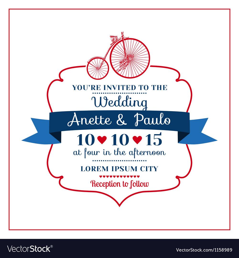 Wedding Invitation Card -Vintage Bicycle Theme vector image