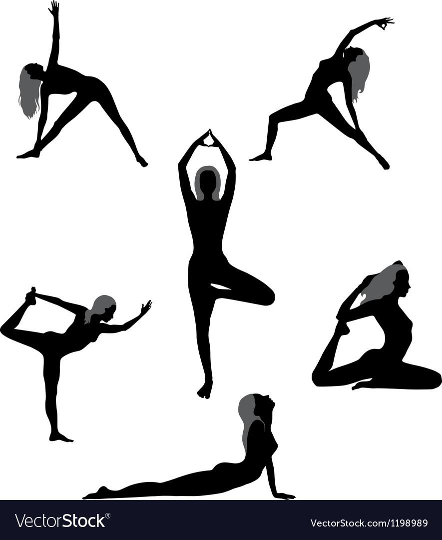 Yoga asanas vector image